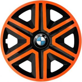 "Enjoliveurs pour BMW 15"", ACTION DOUBLECOLOR ORANGE-NOIRS 4 pcs"
