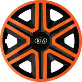 "Enjoliveurs pour KIA 16"", ACTION DOUBLECOLOR ORANGE-NOIRS 4 pcs"