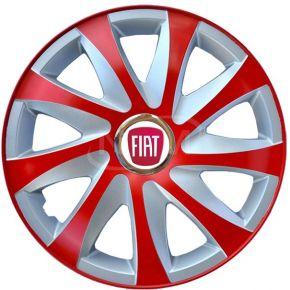 """Enjoliveurs pour FIAT 14"""", DRIFT EXTRA rouge-argent 4pcs"""