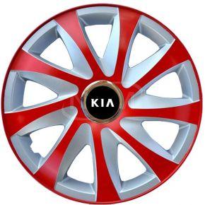 """Enjoliveurs pour KIA 15"""", DRIFT EXTRA rouge-argent 4pcs"""