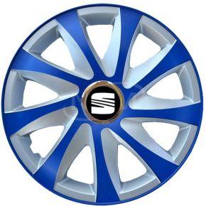 """Enjoliveurs pour SEAT 14"""", DRIFT EXTRA bleu-argent  4pcs"""