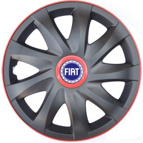 "Enjoliveurs pour FIAT 14"", KANDO RACE rouge 4pcs"