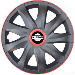 "Enjoliveurs pour NISSAN 16"", KANDO RACE rouge 4pcs"