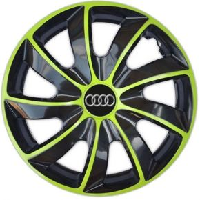"Enjoliveurs pour AUDI 16"", QUAD BICOLOR VERTES 4 pcs"