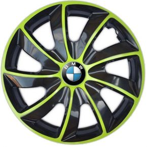 "Enjoliveurs pour BMW 15"", QUAD BICOLOR VERTES 4 pcs"