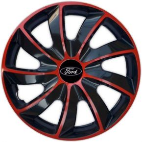 "Enjoliveurs pour FORD 16"", QUAD BICOLOR ROUGES 4 pcs"