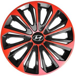 "Enjoliveurs pour HYUNDAI 15"", STRONG DUOCOLOR ROUGES-NOIRS 4 pcs"