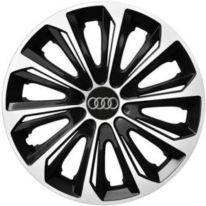 "Enjoliveurs pour AUDI 15"", STRONG DUOCOLOR NOIRS-BLANCS 4 pcs"