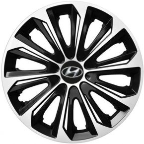 "Enjoliveurs pour HYUNDAI 15"", STRONG DUOCOLOR NOIRS-BLANCS 4 pcs"